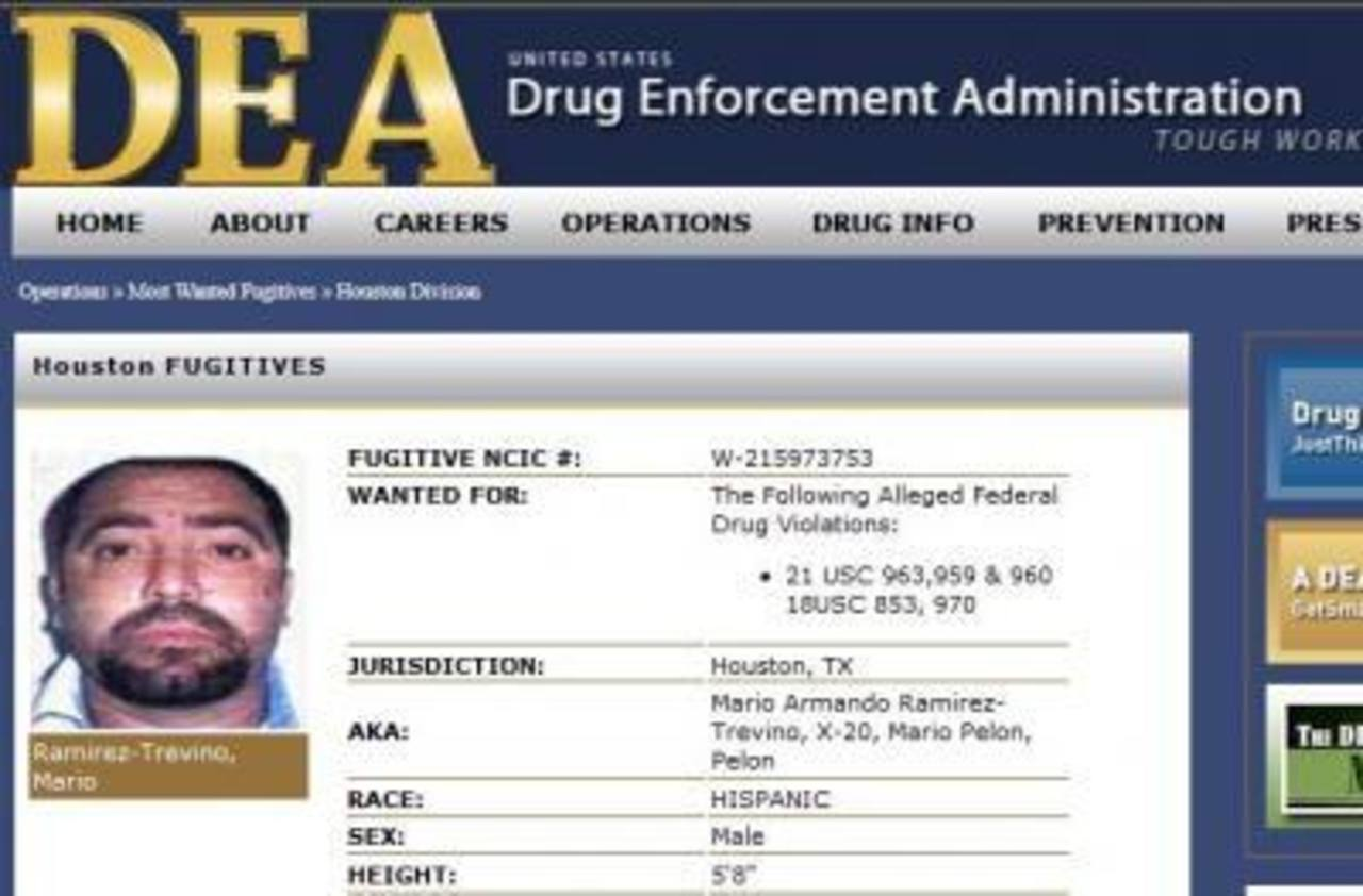 Imagen del perfil de Ramírez Treviño, alias El Pelón, en la página de la DEA. foto edh / Internet