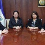Roberto Argueta, Roxana Núñez, Lolly Claros y Elsy Dueñas, actuales magistrados de la Sala de lo Contencioso-Administrativo de la Corte Suprema de Justicia. foto edh / cortesía