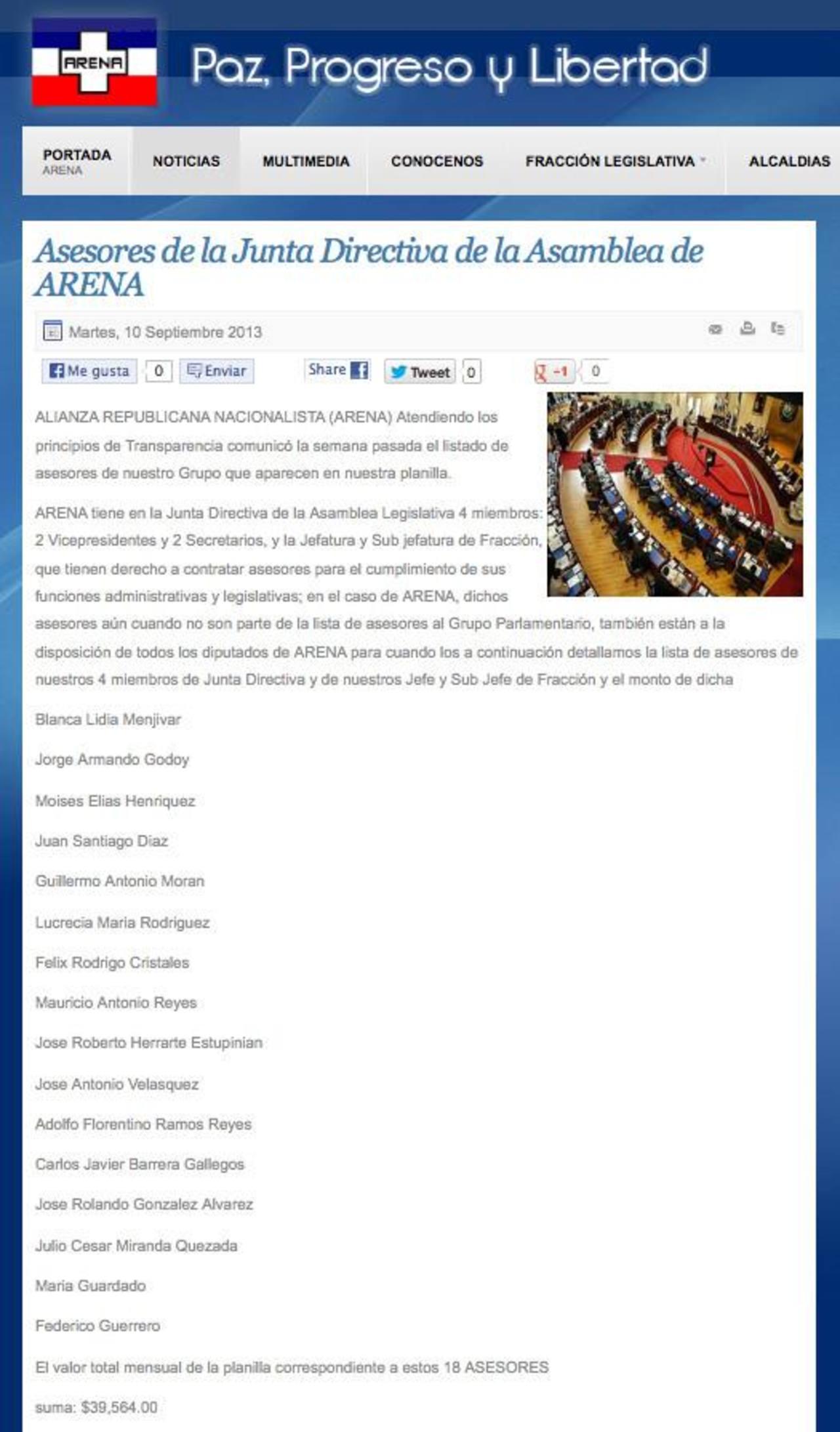 ARENA publicó anoche en su sitio de Internet el listado con los nombres de los asesores que están al servicio de la Junta Directiva, del subjefe y jefe de la fracción tricolor. foto EDH