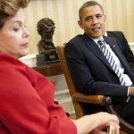 Imagen del 9 de abril de 2012 del presidente estadounidense Barack Obama (d) y su par de Brasil, Dilma Rousseff, en el Salón Oval de la Casa Blanca. foto edh / EFE