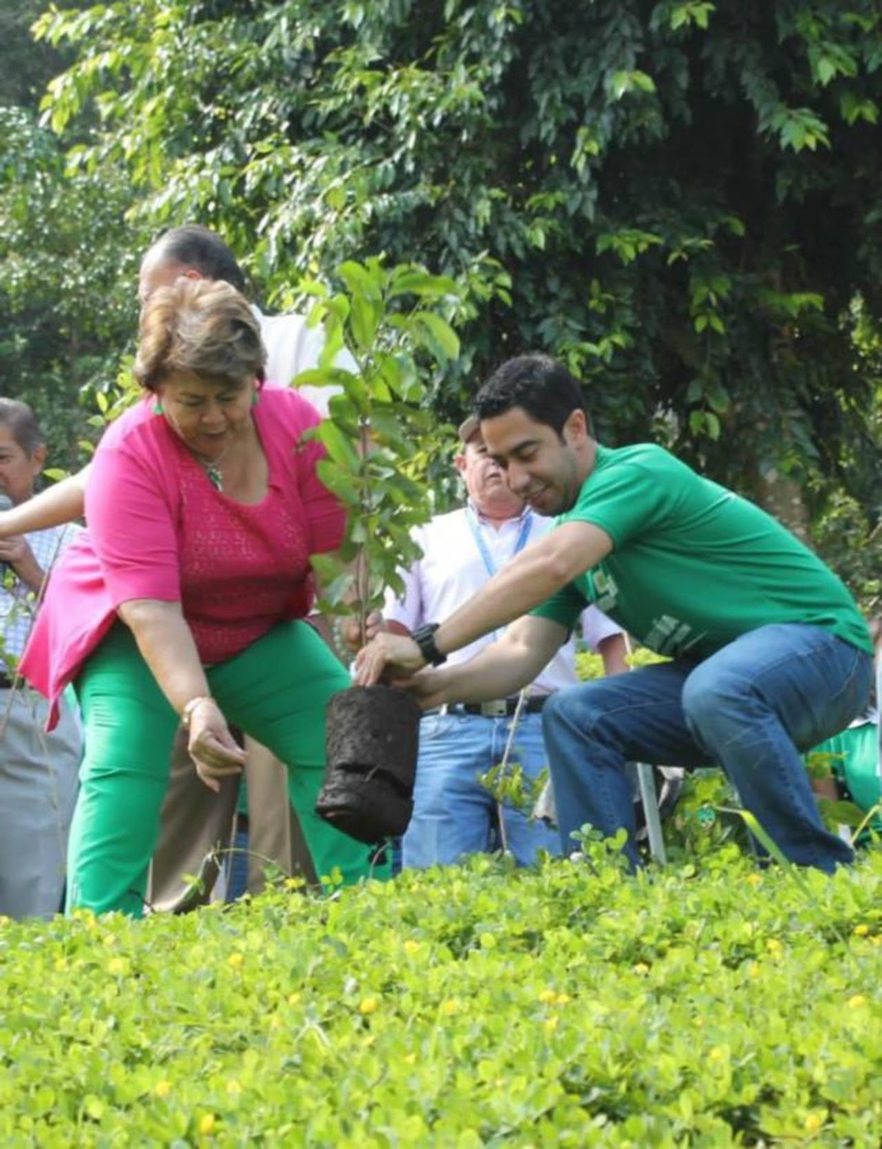 La alcaldesa de Antiguo Cuscatlán, Milagro Navas, también participó en la siembra de los árboles. Foto EDH / CORTESÍA
