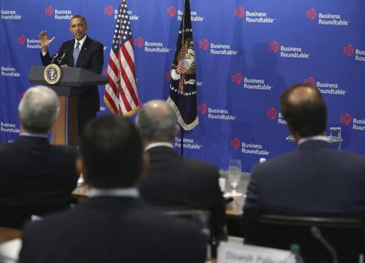 El presidente Barack Obama en la reunión con empresarios.