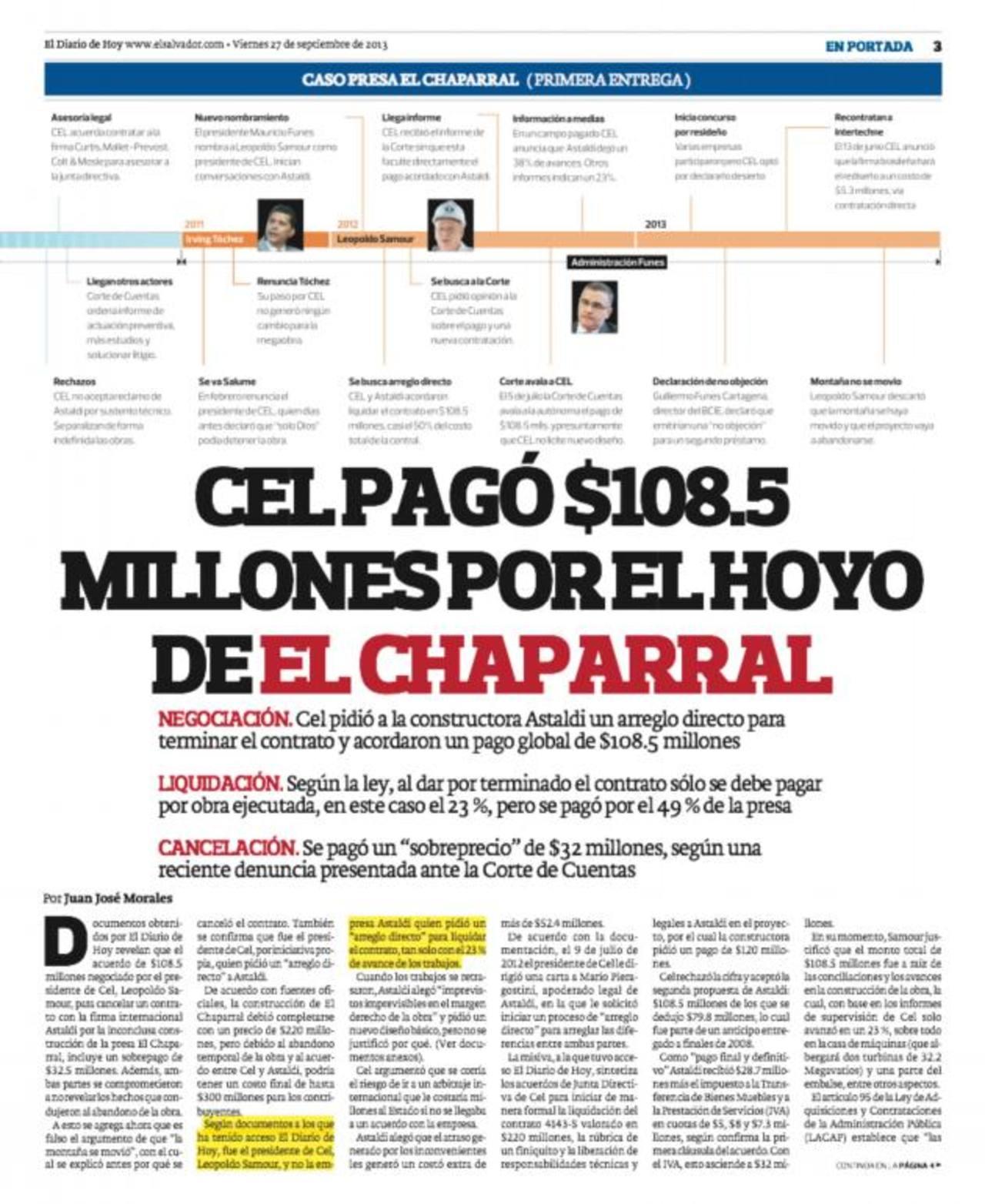 Cel expone justificaciones sobre pago por El Chaparral