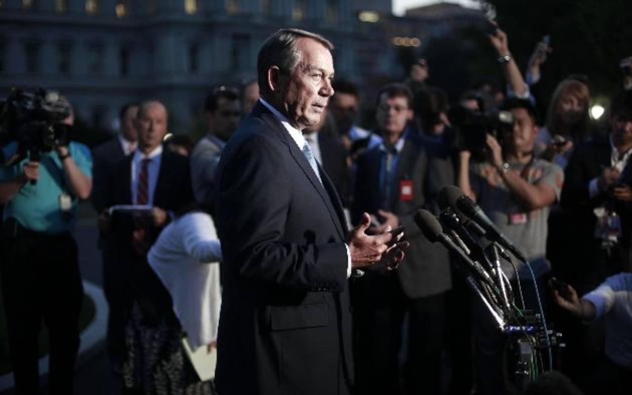 El presidente de la Cámara de Representantes de EE. UU., el republicano John Boehner, al salir de la reunión. foto edh / ap