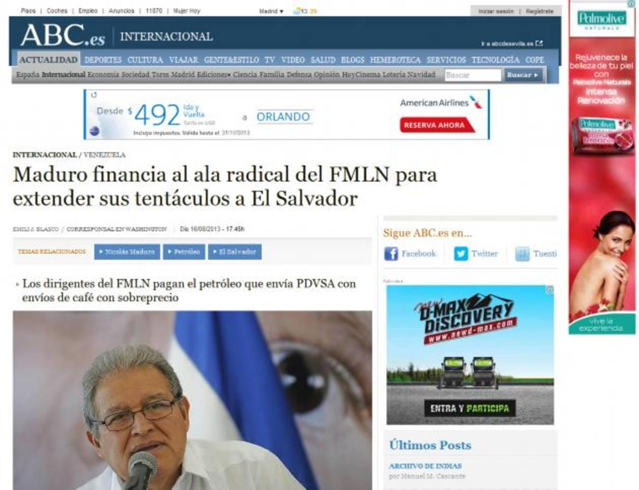 Publicación del español ABC, en la que el corresponsal en Washington revela detalles de la relación Maduro-FMLN.