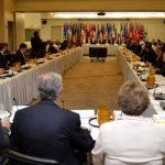 Un aspecto de la reunión de los ministros de finanzas ante el BID. Foto EDH/ tomas guevara