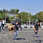 Las protestas de los estudiantes de la Universidad Al-Azhar fueron violentas. Foto EDH / efe