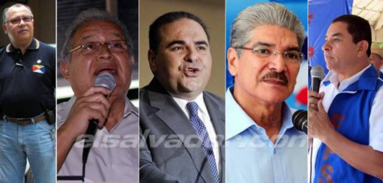 Cinco candidatos a la presidencia de El Salvador
