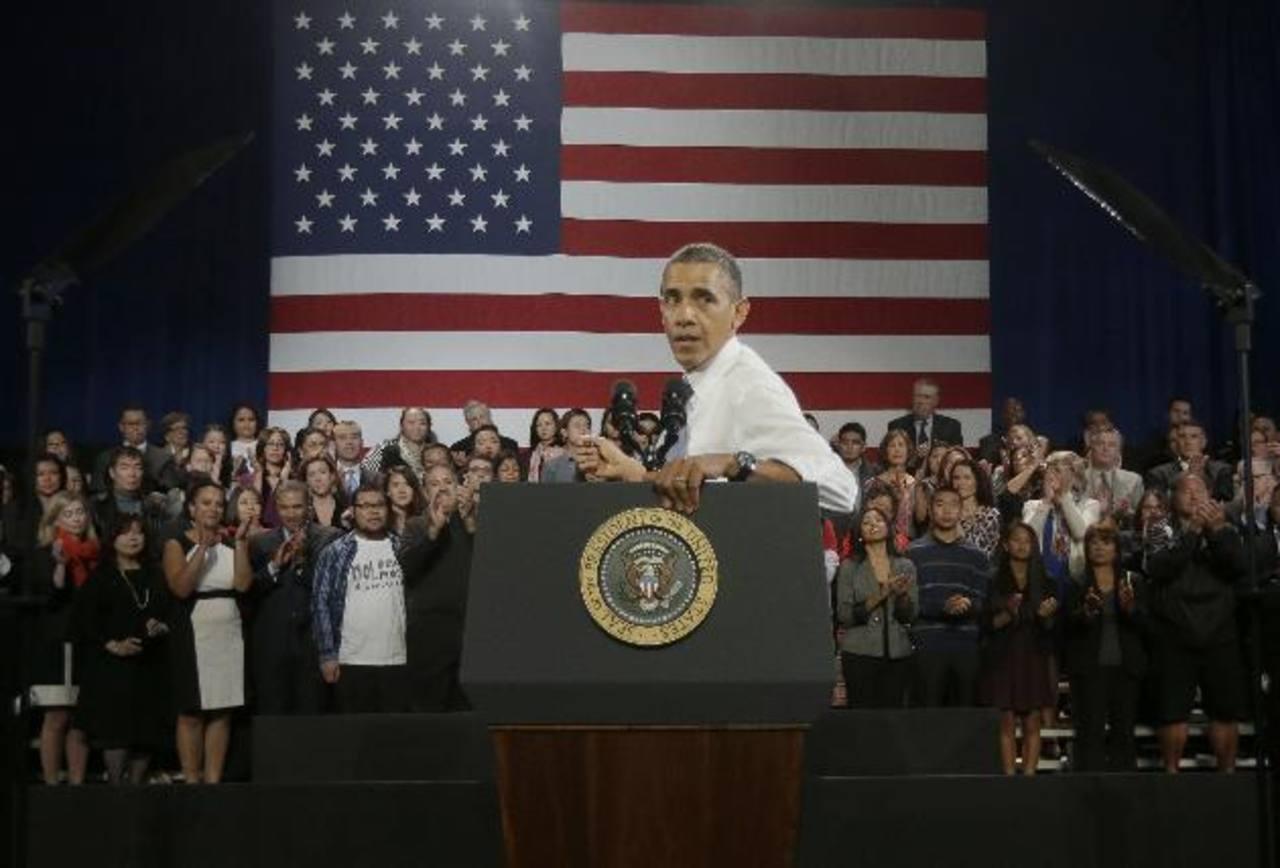 El presidente estadounidense, Barack Obama, hizo hincapié ayer en San Francisco (California) en la necesidad de aprobar una reforma migratoria. foto edh / ap