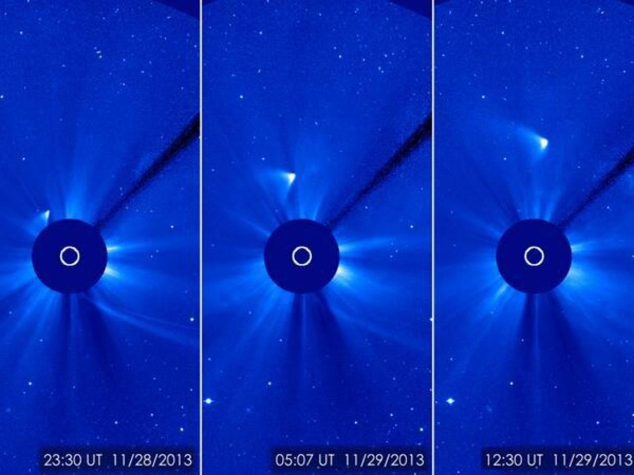 Nuevas imágenes, básicamente débiles borrones en una pantalla, que fueron analizadas el viernes mostraron una raya de luz alejándose del Sol.