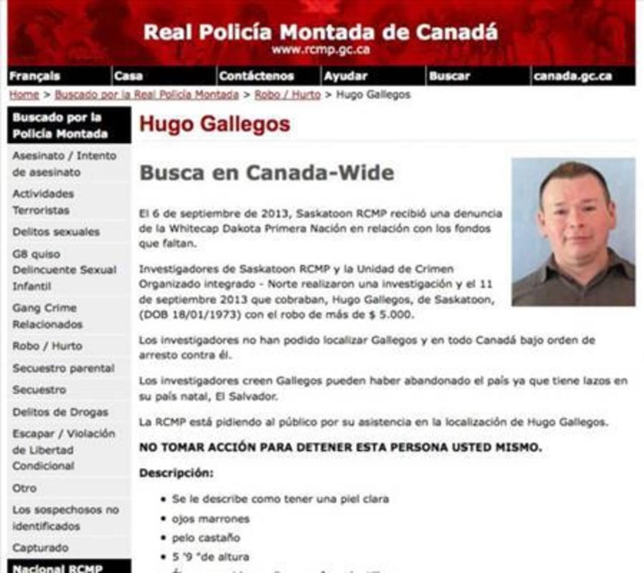 Aviso de captura de la Policía Montada de Canadá contra Hugo Edgardo Gallegos Navarrete. Foto EDH / Archivo