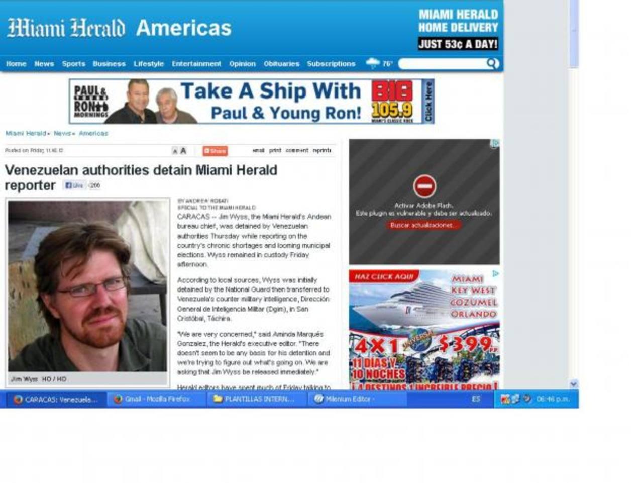 El portal del periódico estadounidense publicó ayer la noticia de la detención junto a una fotografía del periodista. foto edh /