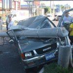 Uno de los varios accidentes que se registraron entre el lunes por la noche y ayer durante el día. Foto EDH / Ericka Chávez.