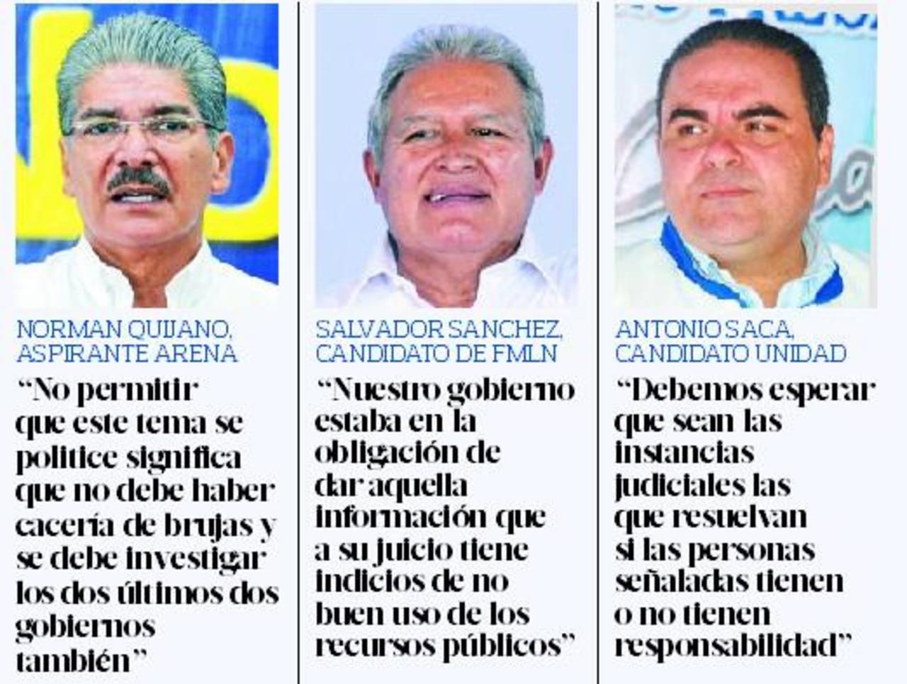 Quijano y Saca piden respeto a la ley, Sánchez justifica proceso