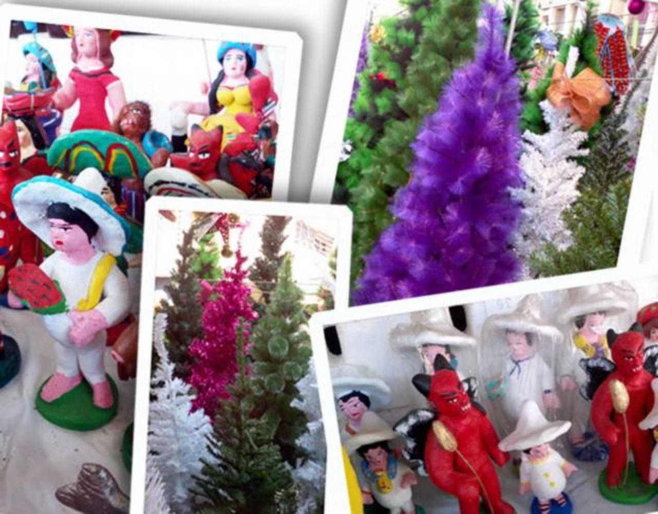 Arbolitos rosados y morados, figuritas del Cipitío, la Ciguanaba y la Tenchis. En el centro de San Salvador podés encontrar todo lo necesario para adornar tu casa en esta Navidad.
