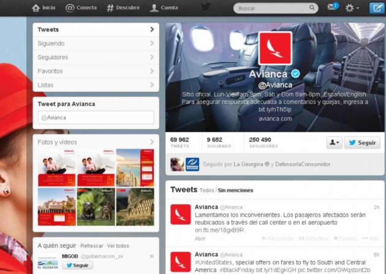 El perfil de las cuentas de Twitter y Facebook reflejan la constante interacción que la aerolínea tiene con los clientes. foto edh /