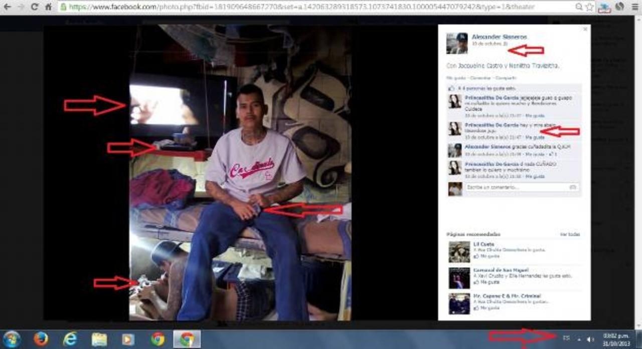 """La imagen, posteada por """"Alexander Sisneros"""" en Facebook el pasado 10 de octubre, demuestra no menos de cuatro prácticas ilegales dentro del penal de Izalco, situado en Sonsonate."""