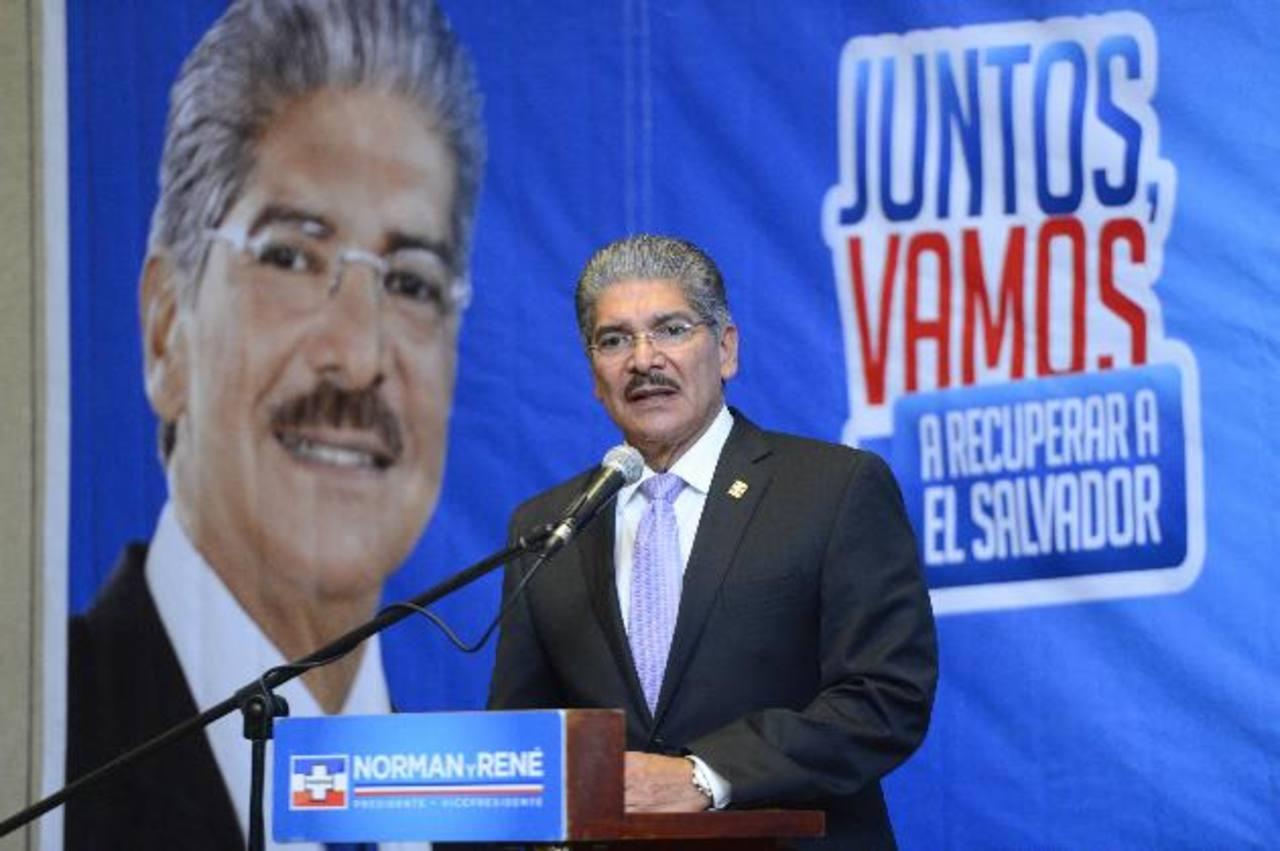 El aspirante presidencial tricolor, Norman Quijano retomará hoy las actividades proselitistas en San Salvador, de cara a las elecciones de 2014. foto edh / archivo