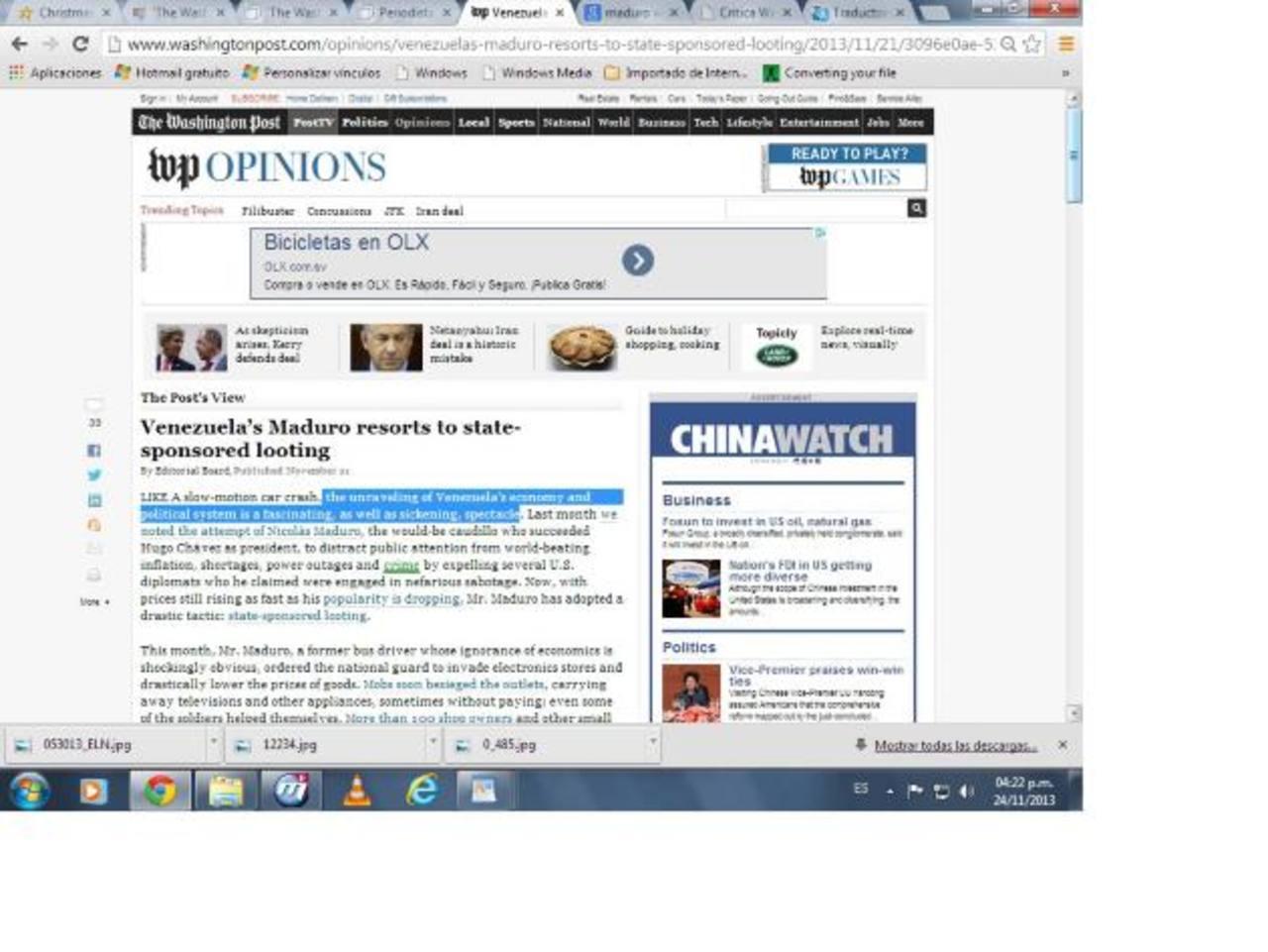 Imagen del artículo en el The Washington Post critica las medidas de Maduro. foto edh / internet