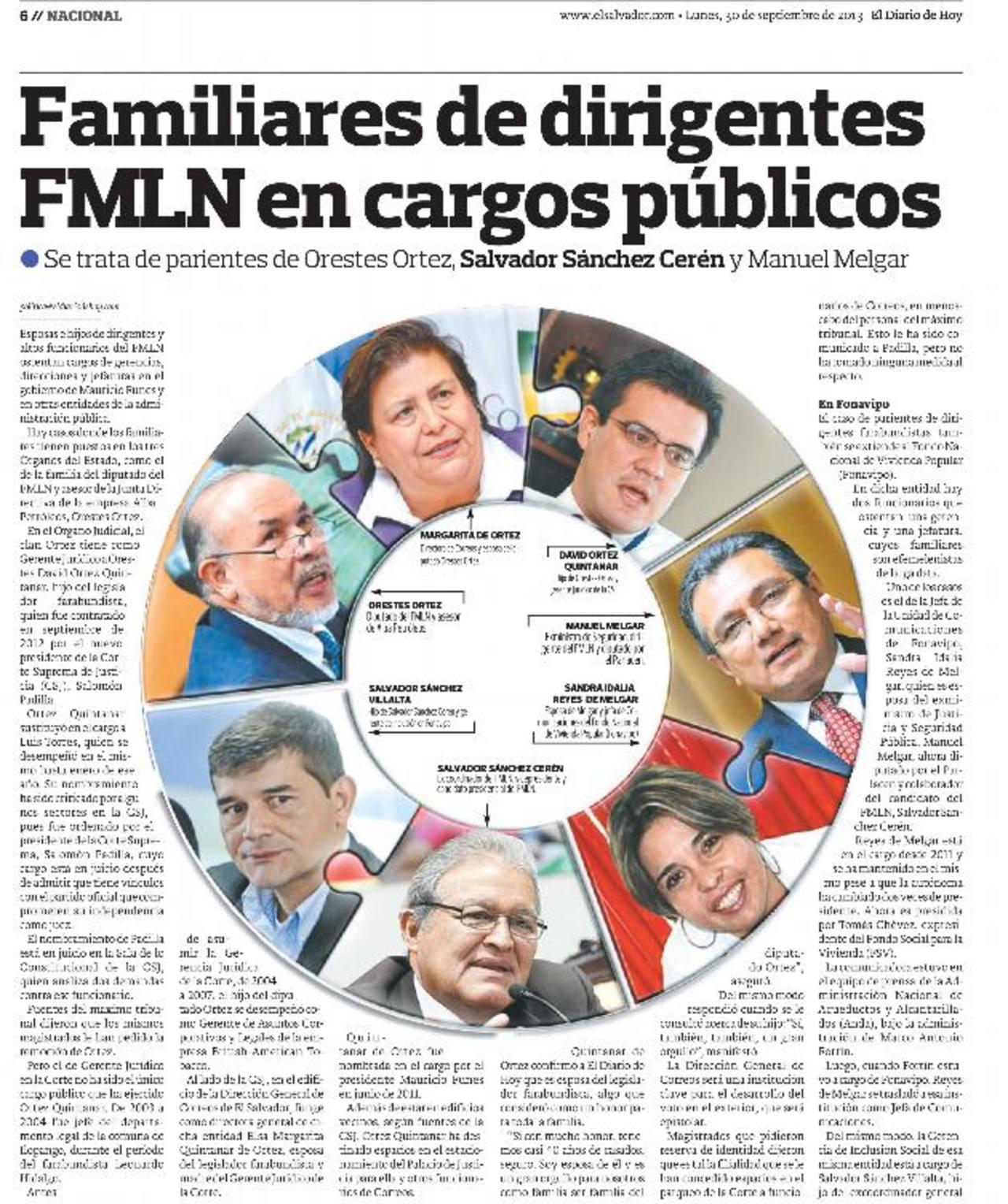 Funes defiende empleo de parientes FMLN en gobierno