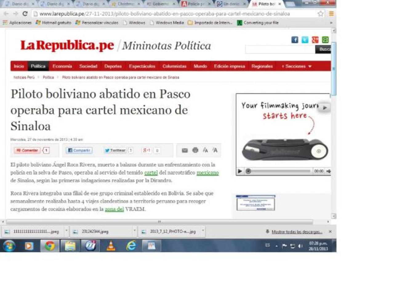 El portal del diario La República donde se informa del narcopiloto.