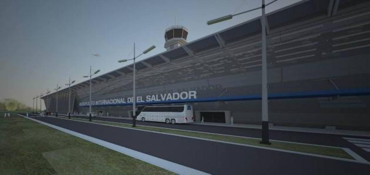 Vista de la fachada principal del Aeropuerto de El Salvador, que incluirá áreas comerciales y diversas áreas adicionales. FOTO EDH