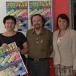 Desde la izquierda: Lorena Peña, Óscar Soles y Breni Cuenca del equipo cultura del FMLN.