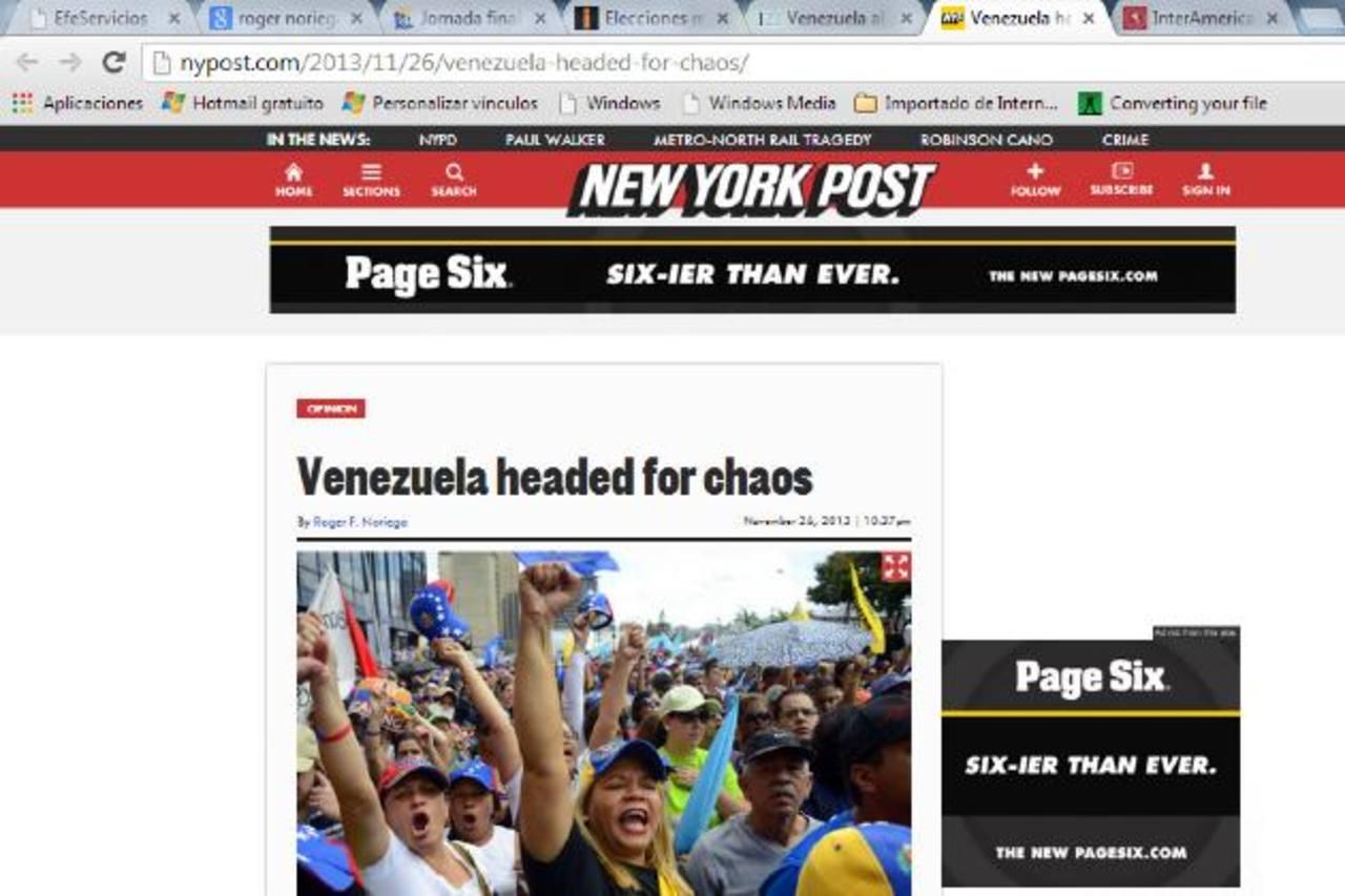 """Imagen del New York Post del artículo """"Venezuela al borde del caos"""", del exembajador de EE.UU., Roger Noriega. foto edh / internet"""