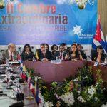 El canciller de Venezuela, Elías Jaua (c), habla durante la instalación del XII Consejo Político de la Alba ayer. foto edh / efe