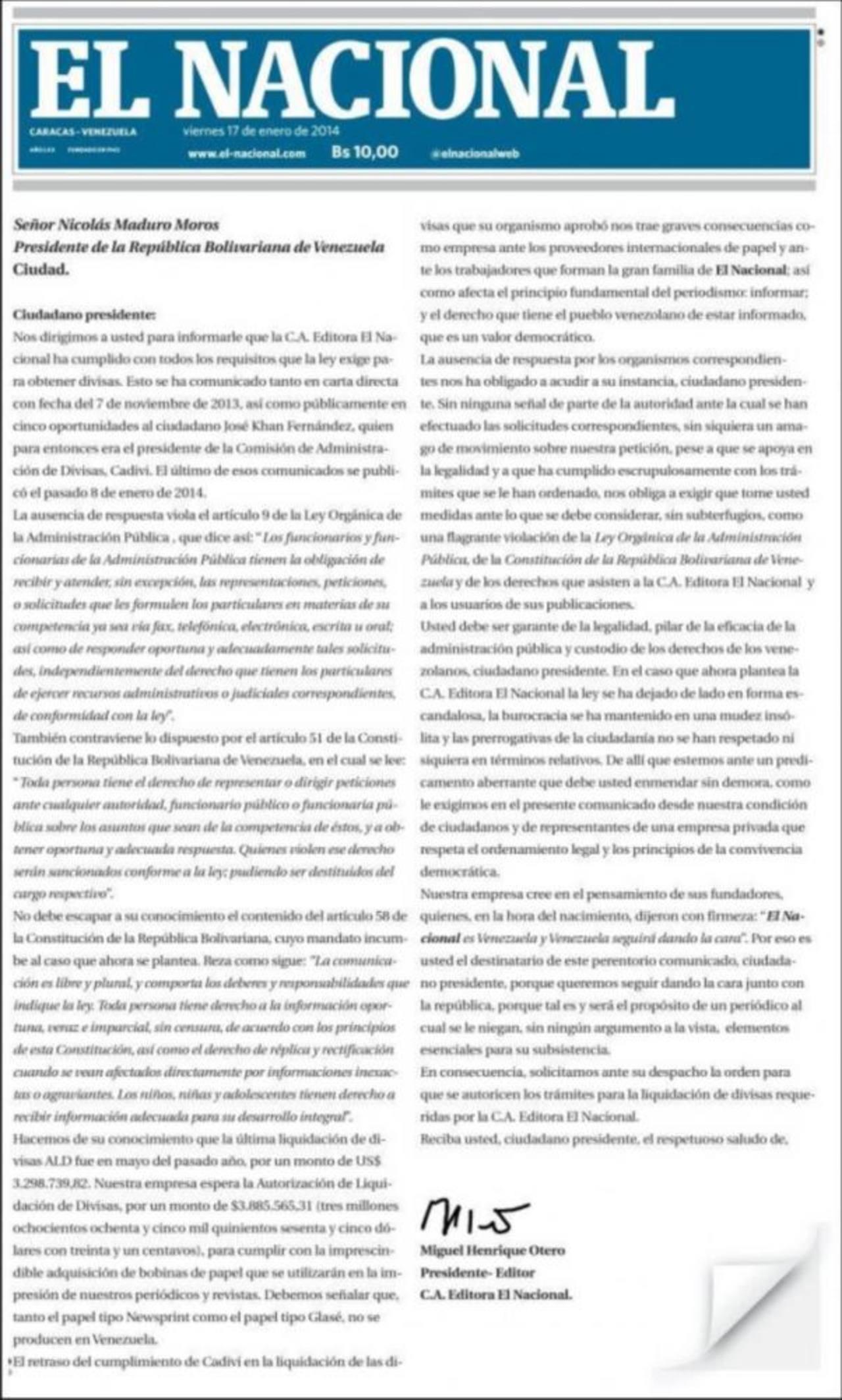 Diario venezolano urge a Maduro la importación de papel ante crisis