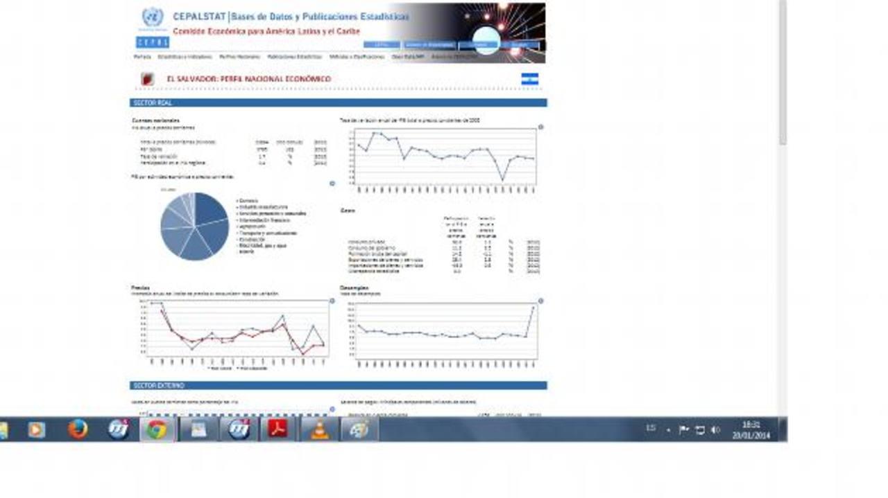 Gráfico publicado en la web de Cepal en donde luego se borró dato de la tasa de desempleo de 2013.