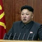 Kim Jong Un brindando un reciente mensaje de año nuevo.