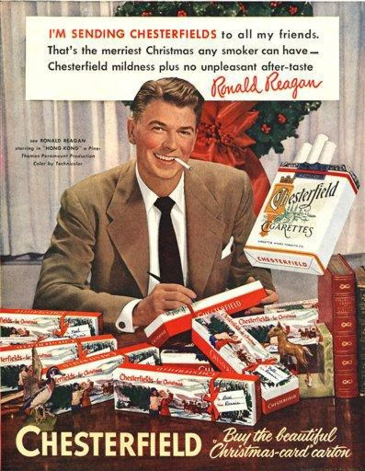Anuncio de 1949 de la marca de cigarros Chesterfield donde aparece el entonces actor y futuro presidente estadounidense Ronald Reagan. El 11 de enero de 2014 se cumple medio siglo de que saliera a la luz en Estados Unidos un conocido estudio que puso