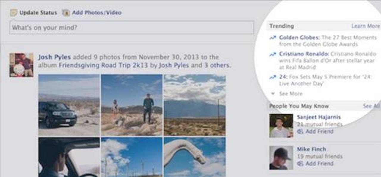 """Facebook agrega """"tendencias"""" similar a los de Twitter"""