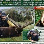 Lucero junto con su novio de caza con la cabra montesa sedada
