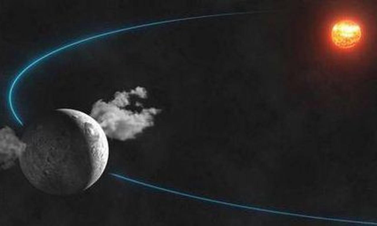 Recreación artística de las columnas de agua emitidas desde el planeta enano Ceres difundida por el Instituto de Mecánica Celeste y Cálculo de Efemérides (IMCCE). Foto/ AP