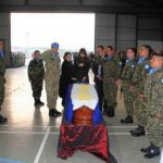 Acto fúnebre del soldado salvadoreño José Manuel Cabrera Aquino, realizado en la Base Miguel de Cervantes, en el Líbano. FOTO EDH Cortesía Fuerza Armada.