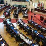 El pleno legislativo conoce este martes el informe de 130 páginas de la comisión que investiga el caso donativo de Taiwán. Foto vía Twitter Eugenia Velásquez