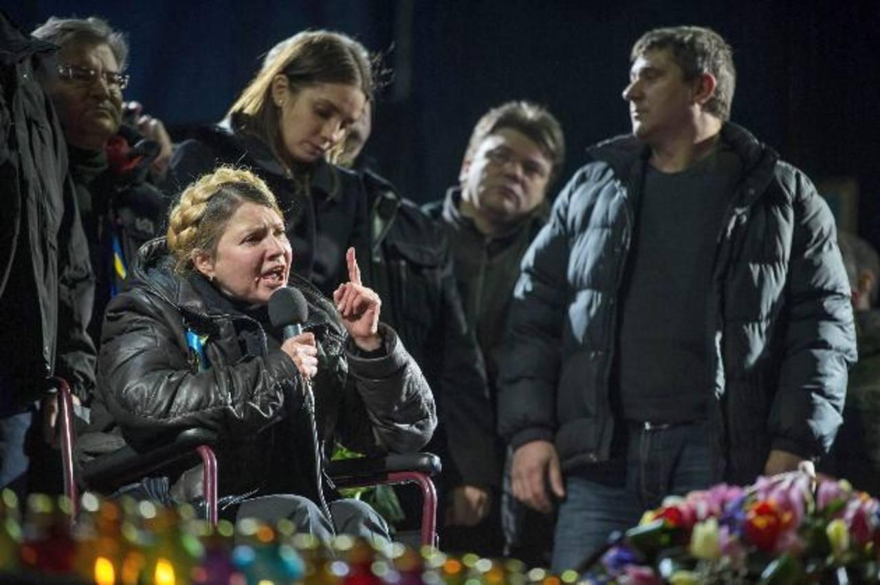 Yulia Tymoshenko, de 53 años, durante su discurso en la Plaza Independencia. Foto EDH/EFE