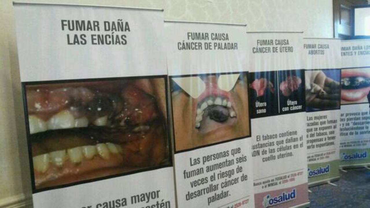 Son 10 advertencias sanitarias que fueron presentadas para los productos de tabaco. Foto vía Twitter Yamileth Cáceres