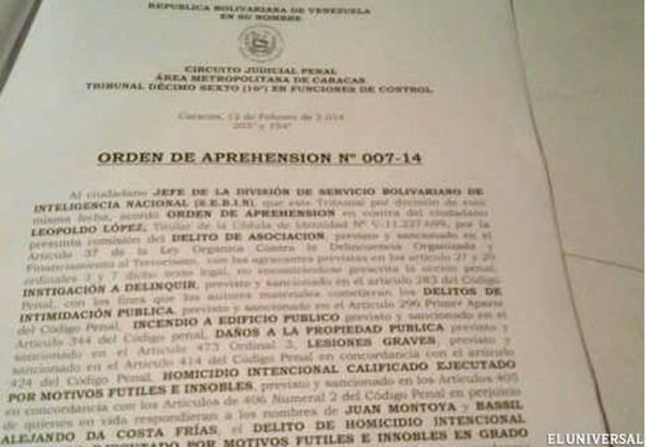 Documento que ordena al Sebin la captura de Leopoldo López por lesiones graves, homicidio y terrorismo. Foto obtenida del diario El Universal de Venezuela