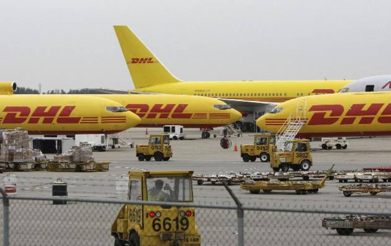 Aviones de DHL captados en la pista del aeropuerto de Wilmington, Ohio, Estados Unidos.