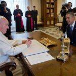 El presidente estadounidense Barack Obama en su reunión con el papa Francisco el jueves 27 de marzo de 2014 en el Vaticano. Foto/ AP