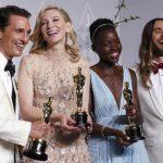 Matthew McConaughey, Mejor Actor; Cate Blanchett, Mejor Actriz; Lupita Nyong'o, Mejor Actriz de Reparto; y Jared Leto, Mejor Actor de Reparto, se divierten con la prensa internacional.