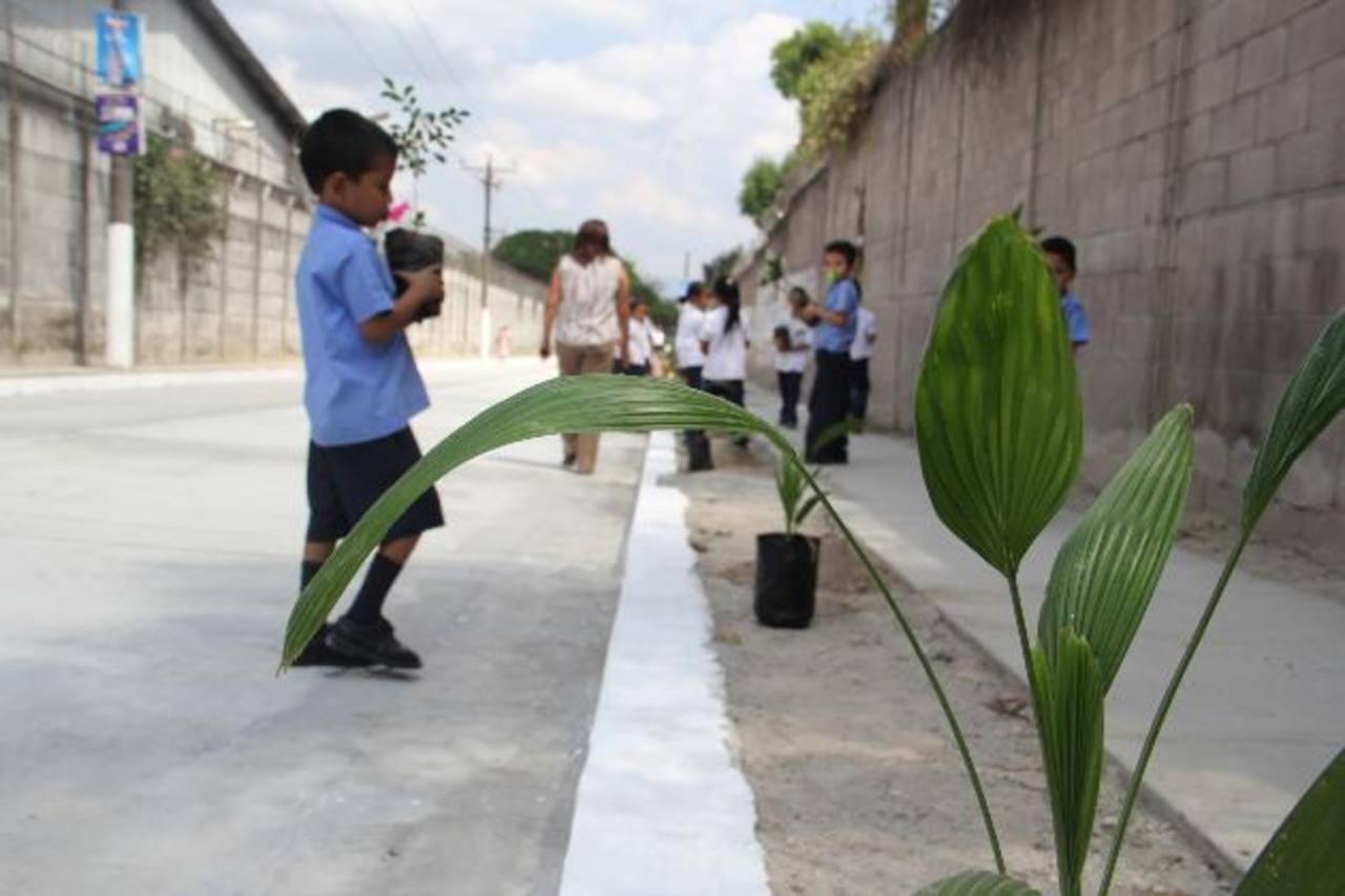 Niños ayudaron a sembrar árboles en las aceras de la calle reparada. foto edh /cortesíaSegún los habitantes, por más de 40 años la vía no había sido intervenida y ahora ya se encuentra en buen estado.