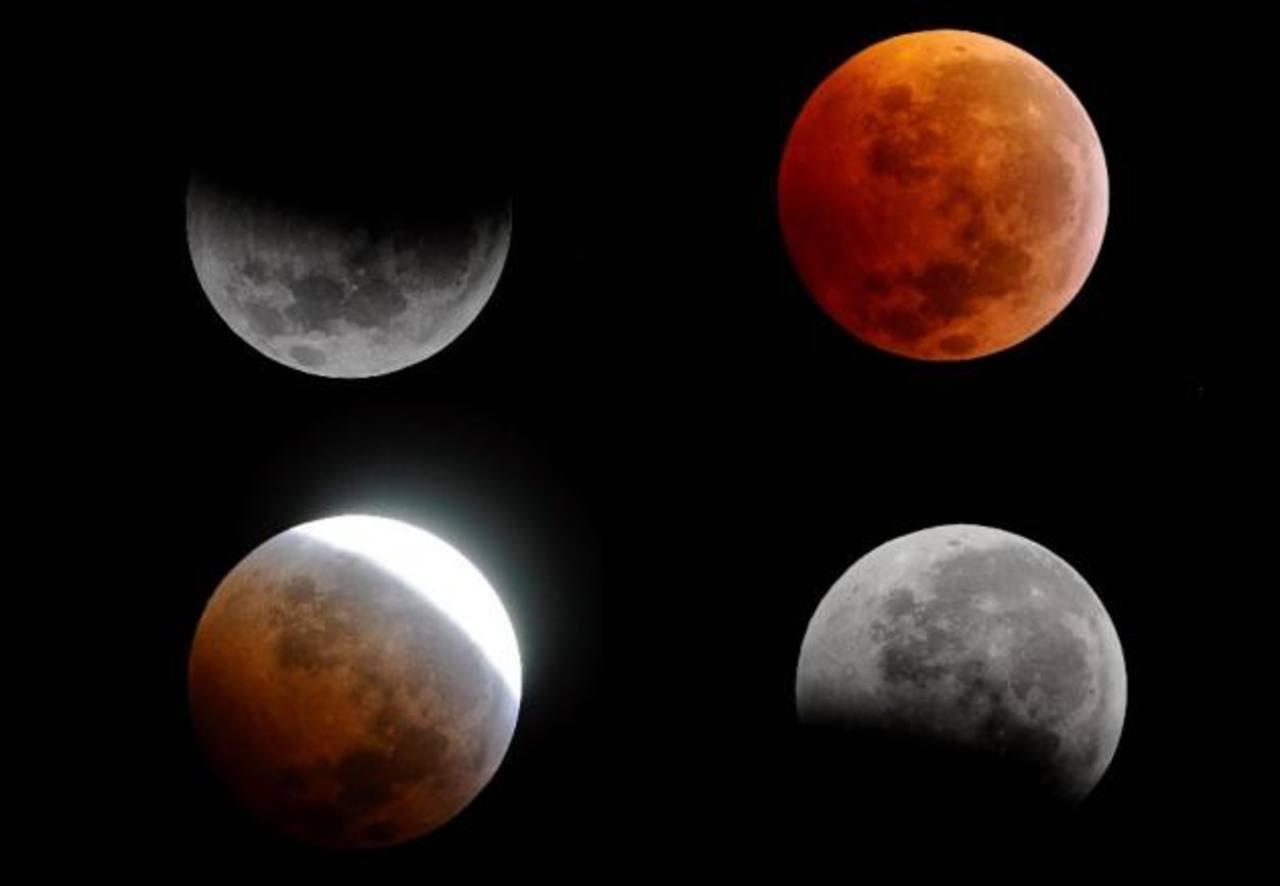 Fases de la luna durante el eclipse.