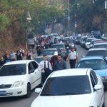 El tráfico vial en la carretera Troncal del Norte se complicó por una protesta. Foto/ René Estrada