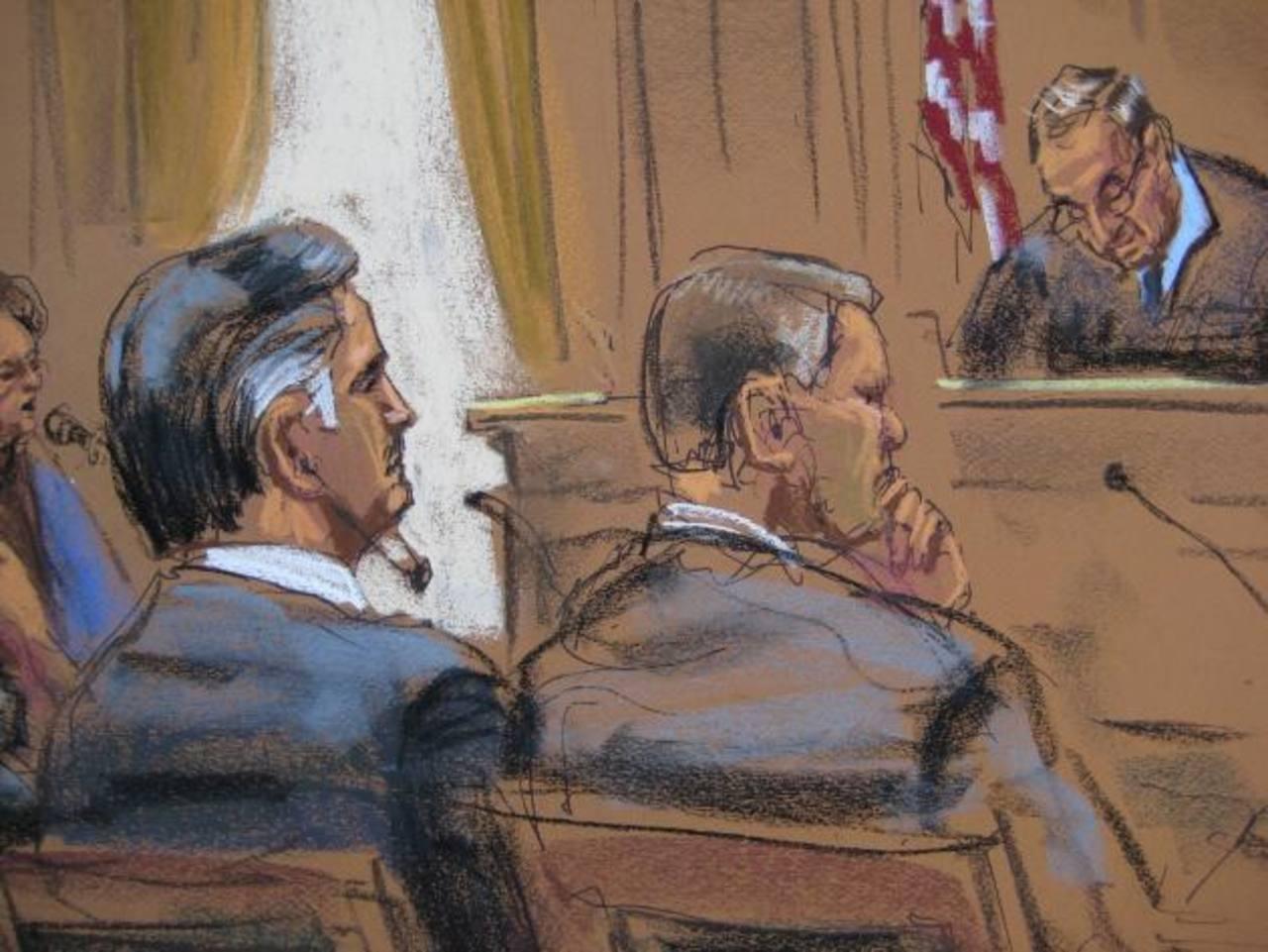 Bosquejo de la corte donde el ex presidente guatemalteco Alfonso Portillo se presentó ayer ante el juez Robert Patterson en un tribunal de Nueva Yor, EE. UU. foto edh / Reuters
