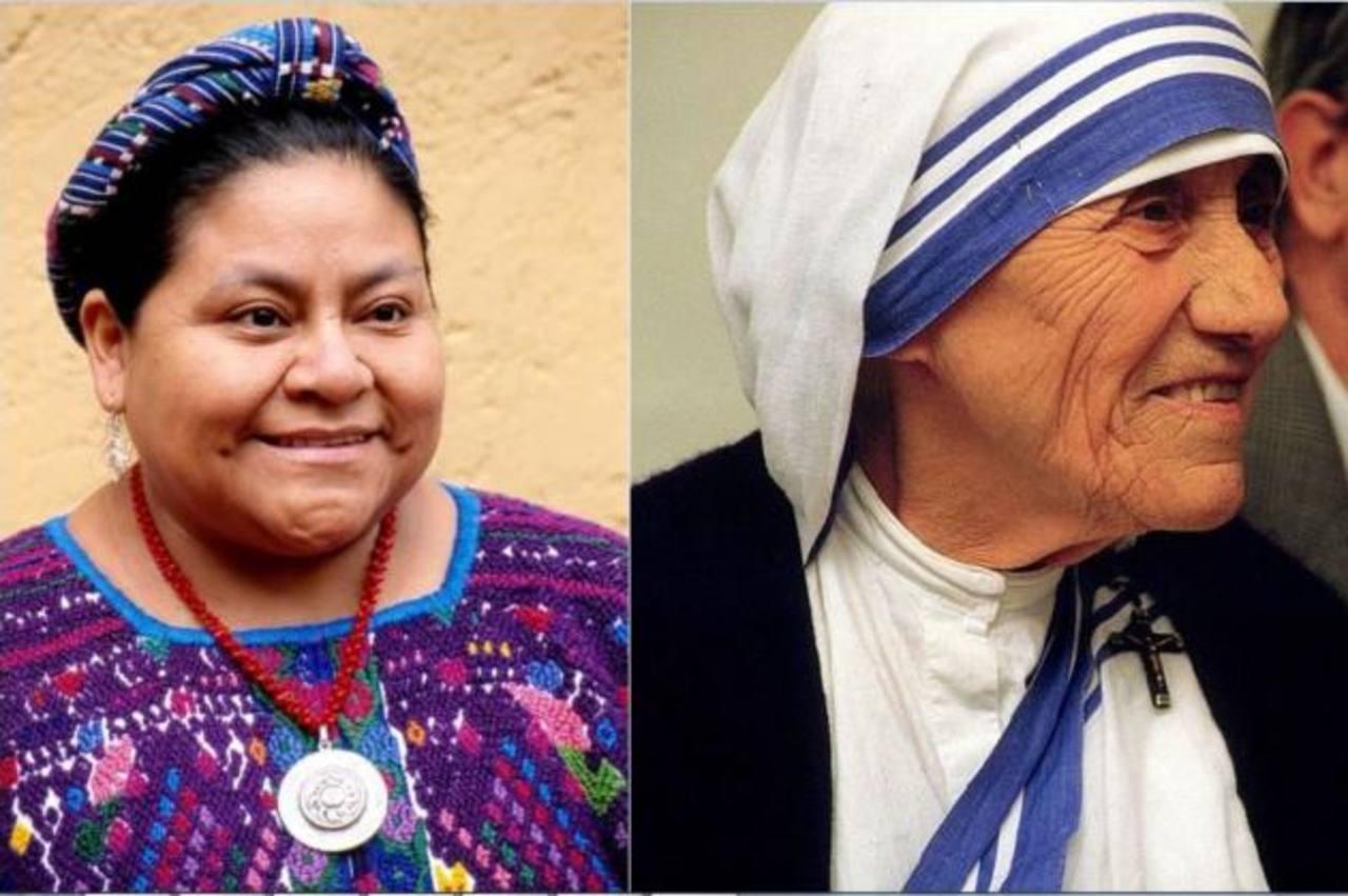 Rigoberta Menchú y Madre Teresa de Calcuta.