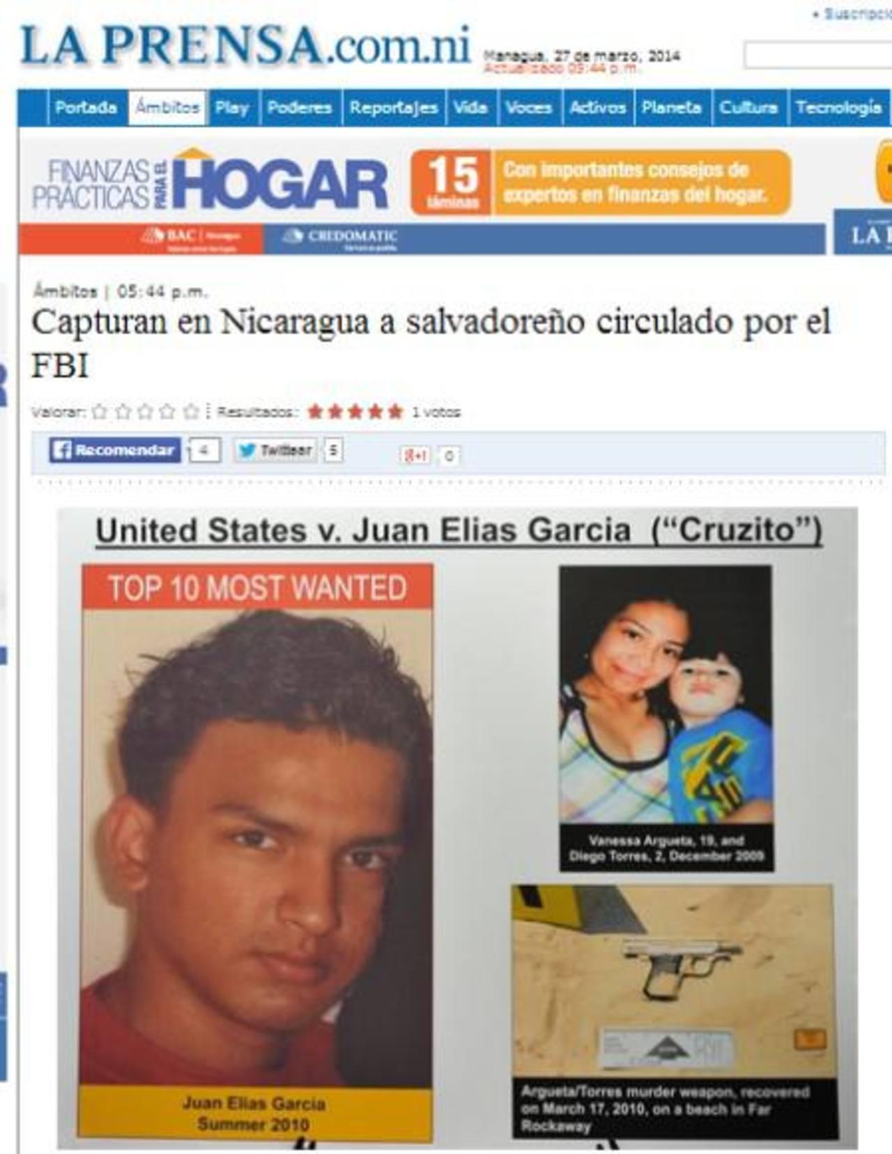 Juan García, de La Unión, habría matado a su novia y el hijo de ella en Nueva York, en 2010. Foto EDH / La Prensa Nicaragua